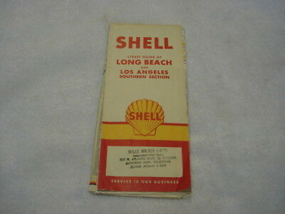 1961 Shell Gas Road Map for Long Beach & Los Angeles Southern  Section