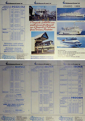Napoli Naples Gulf Timetable 1989 Linee Lauro Ferry