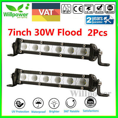 2X 7Inch 30w 6-LED Single Row Slim Led Light Bar Flood Fog Offroad Driving Lamp