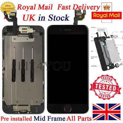 """For iPhone 6 Black 4.7"""" Screen Replacement Digitizer LCD Home Button Camera Tool"""
