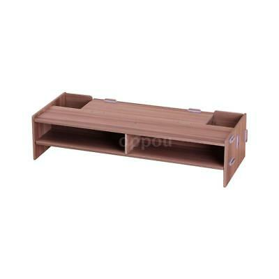 Wooden Monitor Stand Riser Computer Desk Organizer with Storage Slots for D2U8