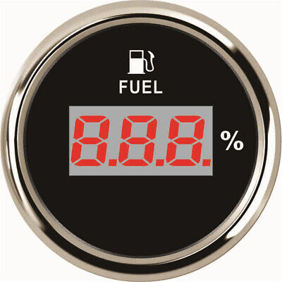 1pc Digital Fuel Gauge 52mm 0-100% Fuel Level Gauge for Auto with Red Backlight