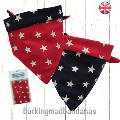 Dog Bandana, Handmade, Double Sided, Reversible, Red & Navy Stars Neckerchief UK