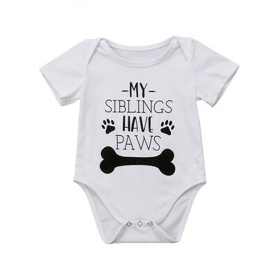 Canis Newborn Baby Boy Girls Dog Bone Romper Bodysuit Jumpsuit Clothes Outfits