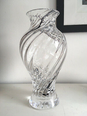 "9.5"" Fine, Heavy, Caithness Black & White Striped Scottish Crystal Glass Vase"
