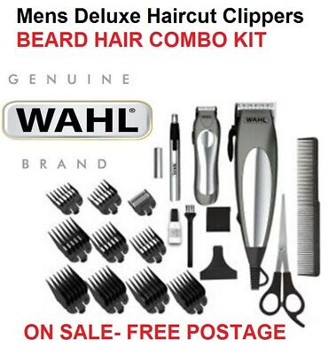 WAHL 21Pc Mens Haircut Clippers with Beard Trimmer Storage Bag Deluxe Grooming