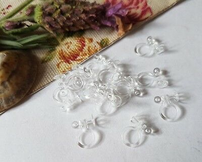 Clear Plastic Clip On Earring Components, Flat Back Glue On, Jewellery Making