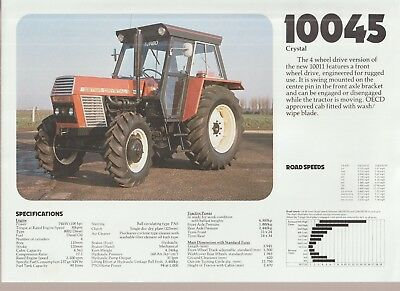 Zetor 10045 Crystal Tractor Specification Sheet