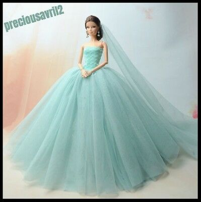 New Barbie doll clothes outfit princess wedding dress gown teal net dress.
