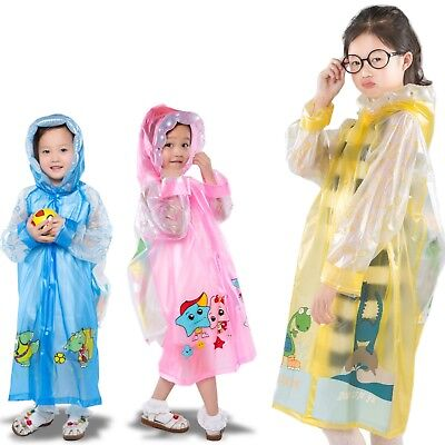 Boys Girls Kids Cute Patterned PVC Raincoat Pink Blue Yellow Age 3 - 10 years