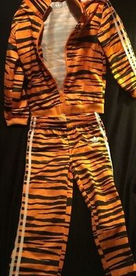 Adidas Kids Jumpsuit- Tiger Pattern/orange/ Black Size 4T