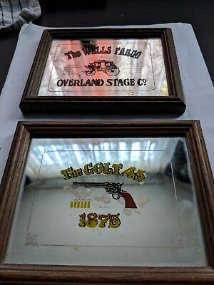 Vintage Wells Fargo and Colt 45 Mirrors