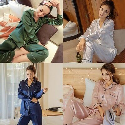 Women's Silk Satin Pajamas Set Long Sleeve Button-Down Sleepwear Loungewear Plus