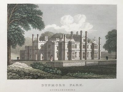 1830 Antique Print; Dunmore Park, Stirlingshire, Scotland after Neale