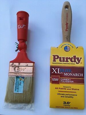 "Purdy XL Elite Monarch 3"" + Extension Pole Paint Brush 2 1/2"" New Way"