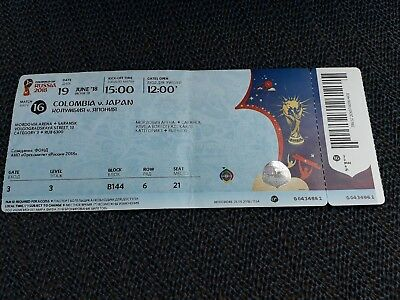 Used , Sammler Ticket WC / WM 2018 Match 16 Colombia  - Japan