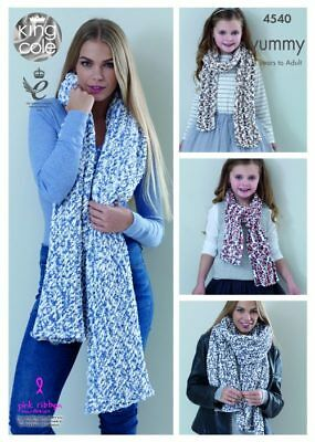 King Cole Knitting Pattern Ladies Shawls and Girls Scarves 4540 Chunky Yummy