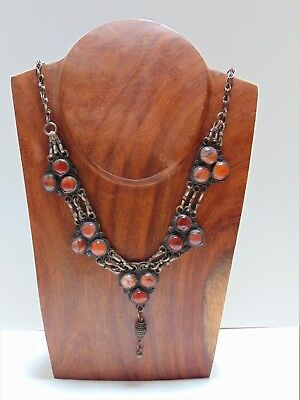 Vintage Antique Old Yemenite Bedouin Saudi Tribal Ethnic Silver Necklace Agate