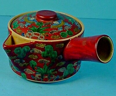 Unusual Antique Japanese Enameled Pottery Side Handle & Open Spout Kyusu Teapot