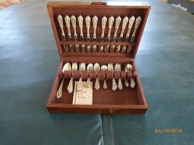 Wallace - Rose Point Sterling Silver 58 Pc Silverware Flatware Set - No Monogram