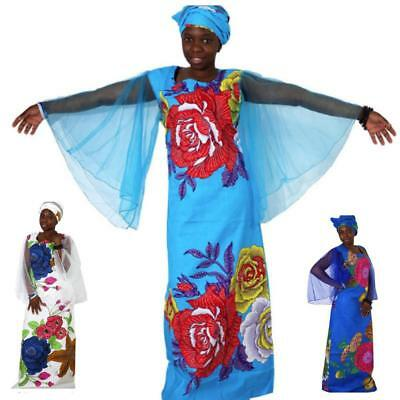 African Dresses For Women Plus Size Africa Clothes Print Floral Beading Bazin Ri