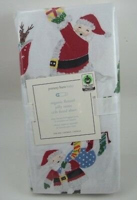 Pottery Barn Kids Baby Flannel Jolly Santa Crib Fitted Sheet Christmas #101