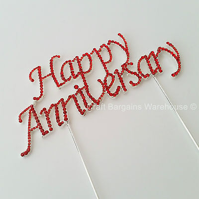 Happy Anniversary Red Cake Pick Topper Decoration Sparkly Ruby Wedding  Large