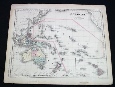 RAND MCNALLY SYSTEM OF GEOGRAPHY ATLAS PLATE MAP NO.33 OCEANICA VINTAGE 1870s