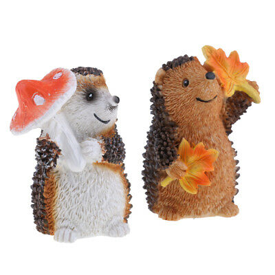 MagiDeal 2x Mini Hedgehog Fairy Garden Decor Figurine Micro Landscape Set #3