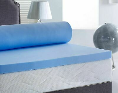 Cool Blue Memory Foam Mattress Topper + Removable Zip Cover for Easy Clean