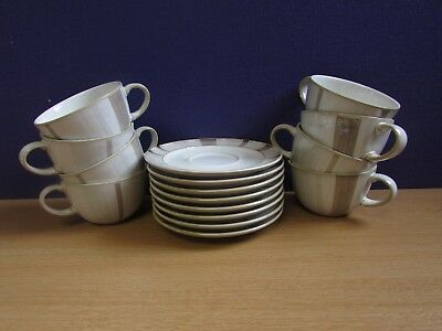 Denby Truffle Design 8 Cups And Saucers