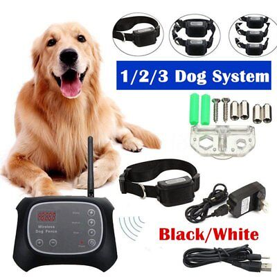 Wireless 1/2/3 Dog Fence No-Wire Pet Containment System Rechargeabl Waterproof K