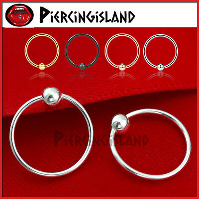 S925 Sterling Silver Ball Septum Ear Nose Lip Ring Hoop Earring Sleeper Piercing
