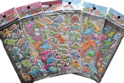 5x SHEETS KIDS BOYS 3D PUFFY REUSABLE SCRAP BOOK STICKERS DINOSAUR PRE-HISTORIC