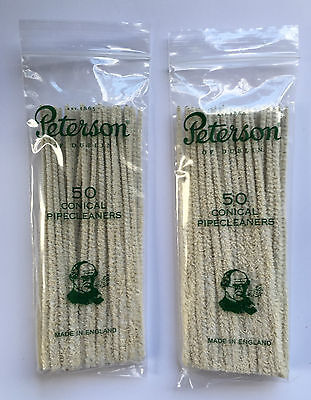 2 x Peterson Conical Luxury Pipe Cleaners Pack of 50. High Quality 15cm Tapered