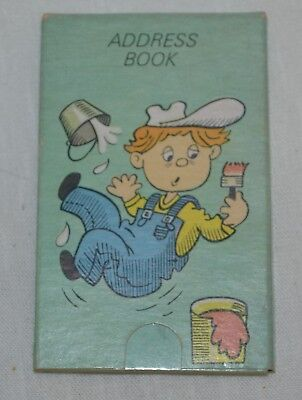 Vintage Address Book Slide-A-Book No 2512 Painting  Boy Falling Off Ladder