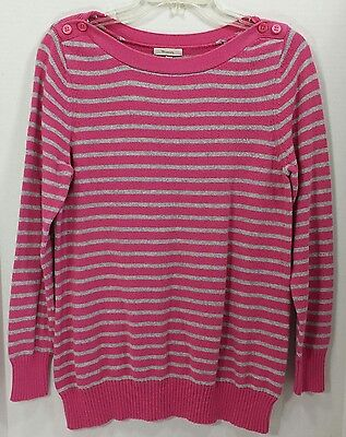 Old Navy Maternity Long Sleeve Sweater Size Large Pink Gray Stripe Boat Neck