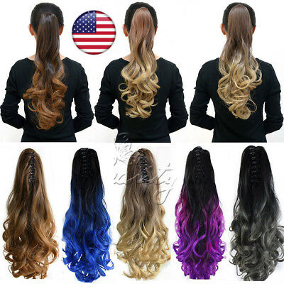 """20"""" Women Long Claw / Clip Curly Wavy Ponytail Pony Hair Hairpiece Extension"""
