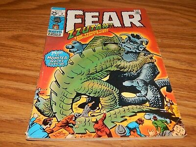 """KEY EARLY Bronze Age Horror Comic FEAR # 3 """"ZZUTAK The Thing"""" FN Condition"""