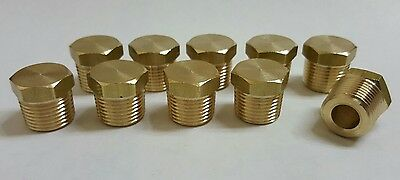 """10 pcs. 3/8""""  MIP (Male NPT) Brass Hex Plug. Fitting  MADE IN USA!"""