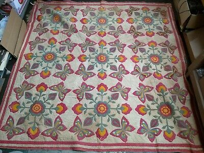 Beautiful ANTIQUE HANDMADE QUILT DATED 1870 Flowers and Butterflies