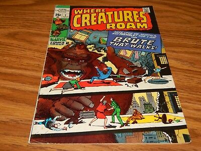 """KEY EARLY Bronze Age Horror Comic  """"Where Creatures Roam"""" # 1 FN+ Condition"""