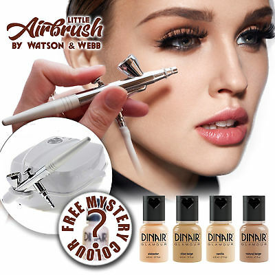 Airbrush makeup Kit. Little Airbrush and 5 Dinair light foundation makeups