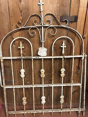 Antique Vintage Garden Gate Cemetery Architectural Fence Cast Wrought Iron Yard