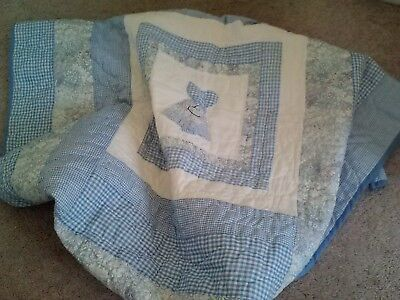Hand Made Hand Quilted Sunbonnet Sue Applique Baby Quilt Blanket-38X50-Adorable