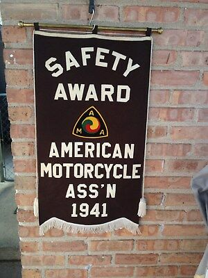 Vintage Rare 1941 American Motorcycle Ass'n Safety Award Banner Motorcycle Ama