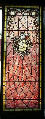 Superb 8 Ft Victorian Stained Glass Landing Window
