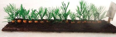 "Dollhouse miniatures 1:12 vegetable garden row, Carrots. 4"" x 1"""