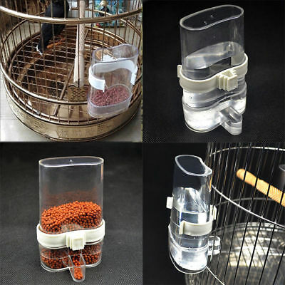 Pet Bird Acrylic Automatic Cage Seed Water Food Feeder Parrot Cockatiel Canary