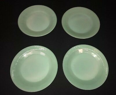 Fire King Jadite Jadeite Jane Ray Dinner Plate Set Of 4 Vintage 1950's Kitchen
